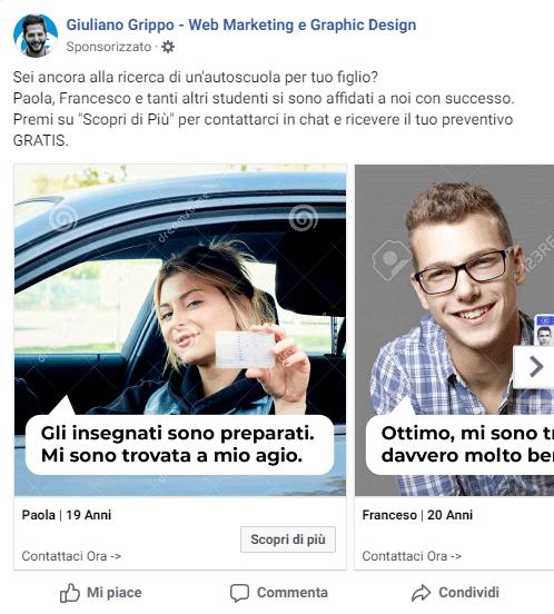 esempio di pubblicità da utilizzare su facebook per un'autoscuola